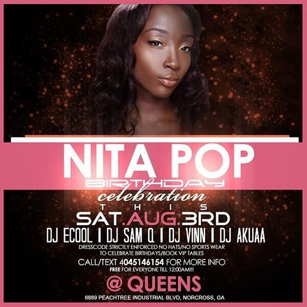 @nitaPOP @HeyImAnita bday celebration this Saturday @Queens Int'l lounge music by myself @DJECOOL @DJVINNATL @DjAkuaa http://t.co/uvg93KMbKO