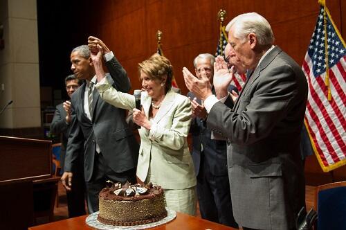Nancy Pelosi With Birthday Cake
