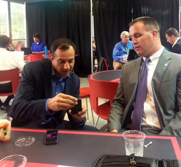 Football? Nah. @coachfitz51 and @schadjoe talking fatherhood at #ESPNB1G. #B1GCats pic.twitter.com/UvBKW5n7Q7