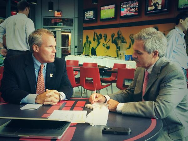 Coach Beckman sitting down with  @McMurphyESPN. Interview number 7 on the day. #ESPNB1G #Illini pic.twitter.com/xrLBzOIuBR