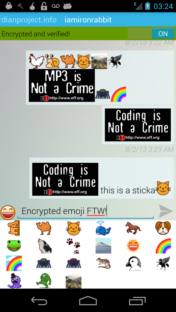 guardian project on twitter encrypted emoji and virtual eff