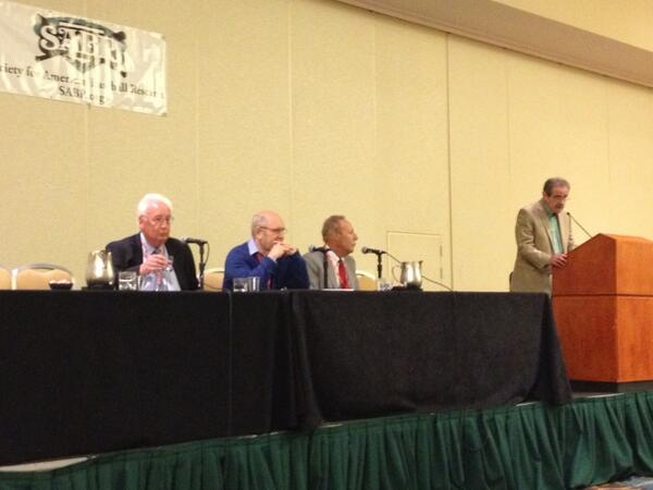 Imagining Baseball panel with Steve Wulf, Eric Rolfe Greenberg, Mark Cooper and John Thorn at #SABR43 pic.twitter.com/1eNvSOkepr