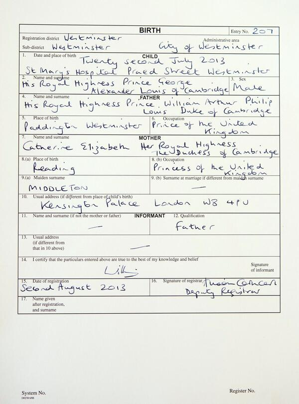 Clarence House On Twitter The Birth Certificate For His Royal