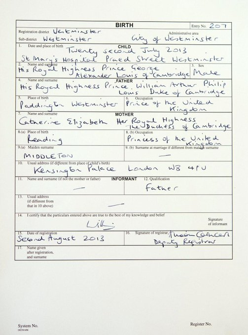 The birth certificate for His Royal Highness Prince George Alexander Louis of Cambridge has been signed
