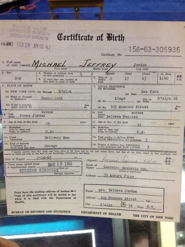 Darren Rovell On Twitter Michael Jordans Birth Certificate Sold
