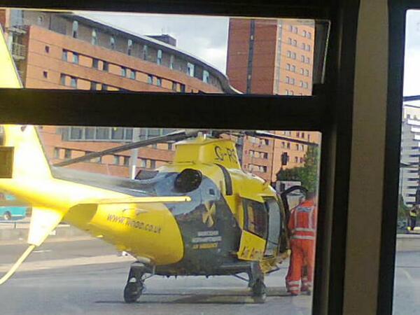 Air ambulance opp Children's hospital, Steelhouse Lane. Taken at Corp Street by Lois Stanley #gridlock #phantombuses pic.twitter.com/Q5ah7XNKf6