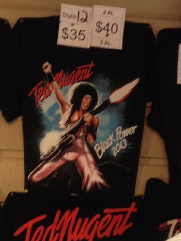 """Should I get this @tednugent """"Black Power"""" shirt or is it offensive? #Detroit pic.twitter.com/eOto9bS5VR"""