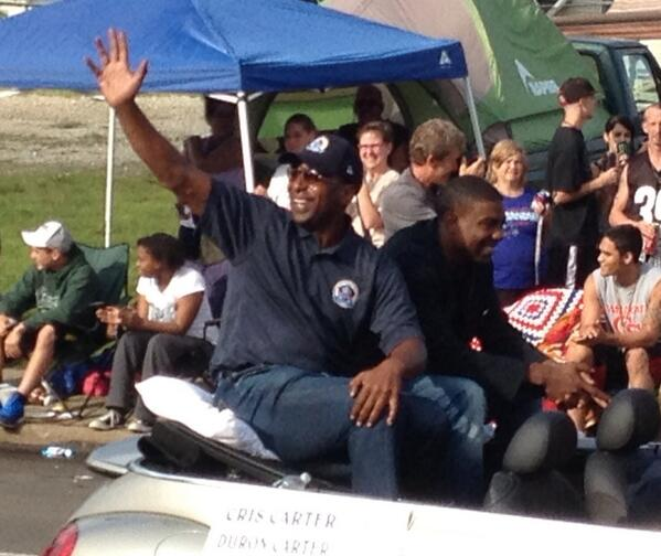 And the one were waiting for, @criscarter80 #HOFparade pic.twitter.com/4cqpszMume