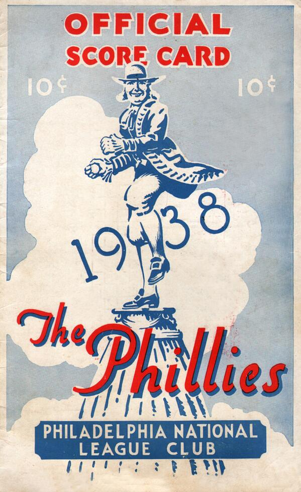 For the #SABR43 folks in Philly-1938 Phillies scorecard, an illustrated version of their logo-Billy Penn playing ball pic.twitter.com/i1DU67Wbay