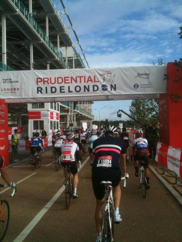 Matt: Here I am at the #RideLondon100 start line, ready to go. Everybody here seems excited! http://pic.twitter.com/1uS75GRXoV