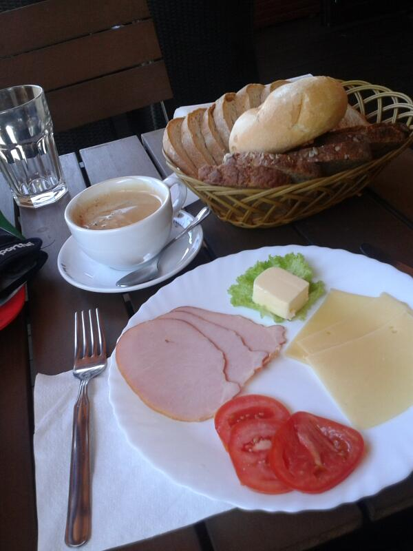 3rd brekky today. 9am. We are about to turn north into Lithuania. http://t.co/S8jbtssBhu