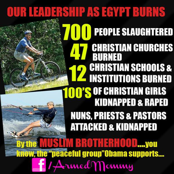 Egypt burns, Christians killed, American leadership