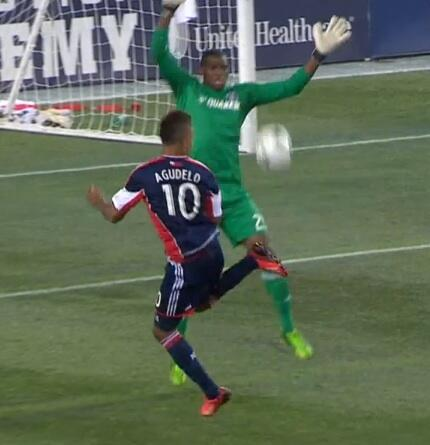 Stoke bound Juan Agudelo scores crazy back heel lob for New England v Chicago Fire