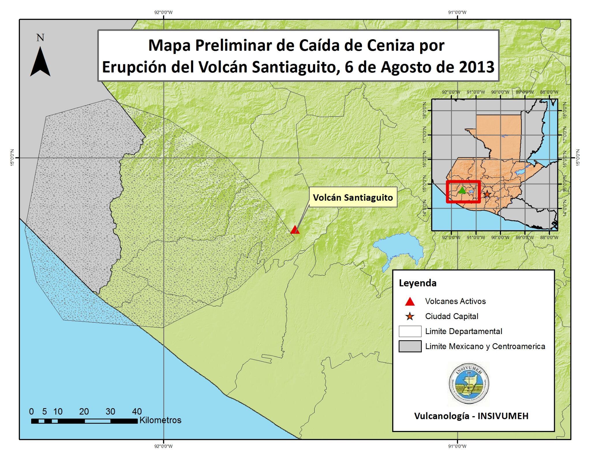 Carte des chutes de cendres du volcan Santiaguito, 06 août 2013