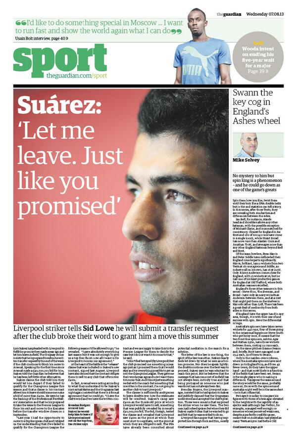 Luis Suarez tells Guardian & Telegraph he wants to leave Liverpool for Arsenal