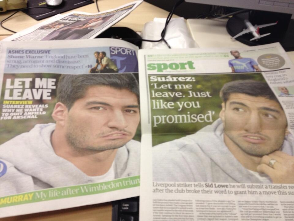 Photoshoppers rip into Luis Suarez after he announces plans to leave Liverpool for Arsenal