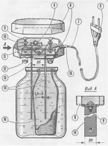 Схема прибора для обнаружения скрытой проводки