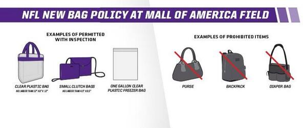 "Trade in my purse for a ziplock?#idontthinkso #lame ""@Vikings: New NFL bag policy bit.ly/13DwVxk pic.twitter.com/PybutWnMfK"""