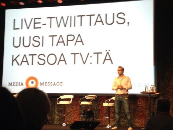 Väitöskirjaa tv-livetwiittauksesta tekevä Kai Huotari lauteilla. #MediaMessage pic.twitter.com/udPgNOLuyq
