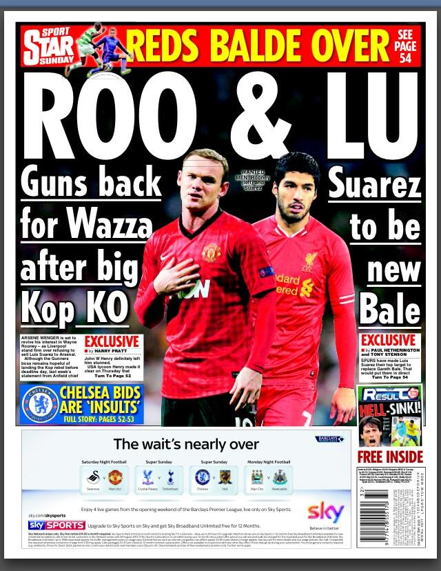 Arsenal back in for Rooney & Tottenham want Suarez to replace Bale [Star Sunday]