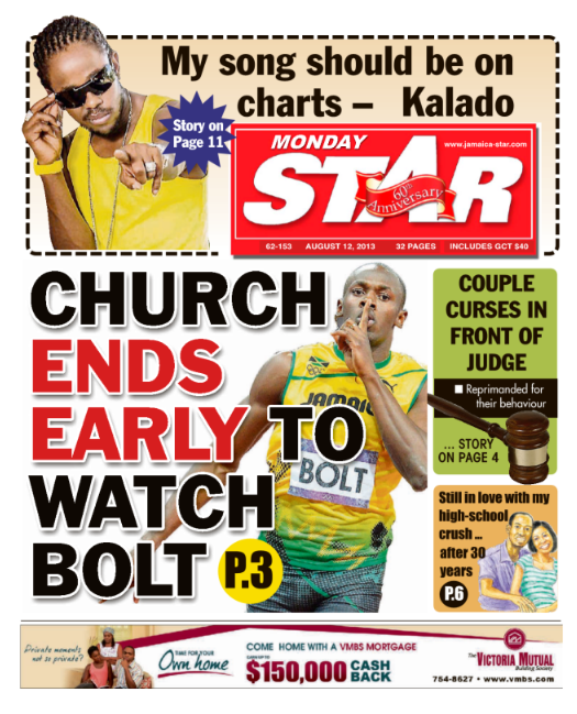 Jamaican Star front page: Church ends early to watch Bolt [Picture]