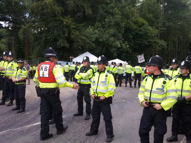 Large Numbers Of Police Being Used To Force Fracking Trucks Through The Community Blockade