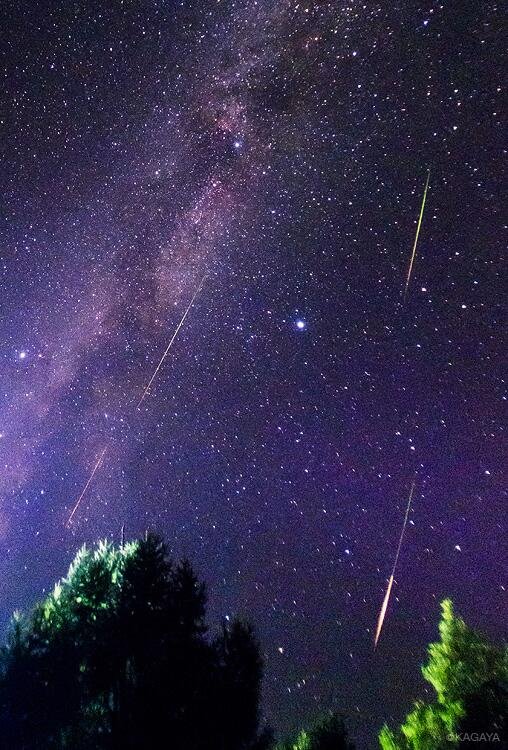 今夜(8/13)も飛びます!ペルセウス座流星群。21時ごろから夜明けまで楽しめます。 写真は昨夜、日光の戦場ヶ原で撮影したものです。中央が織姫星、左隅が彦星、光の帯が天の川です。