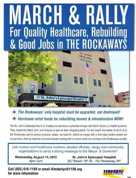 All out to save St. John's Hospital in the Rockaways.  This community needs to rebuild, not suffer more! pic.twitter.com/TmvpwFmHpS