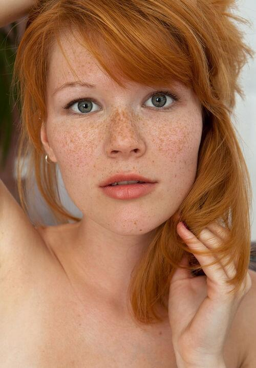 Petite Freckled Redhead Nude On White Stock Photo, Picture And.