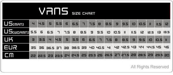 vans sizes in inches