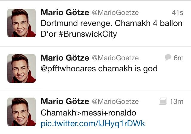 Mario Gotzes Twitter account hacked, showers Arsenal flop Chamakh with love