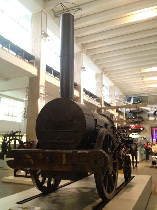 Now to 1829 & Stephenson's Rocket. The most famous locomotive and first fast intercity passenger travel #MMWTour pic.twitter.com/j4gkZqmbdl