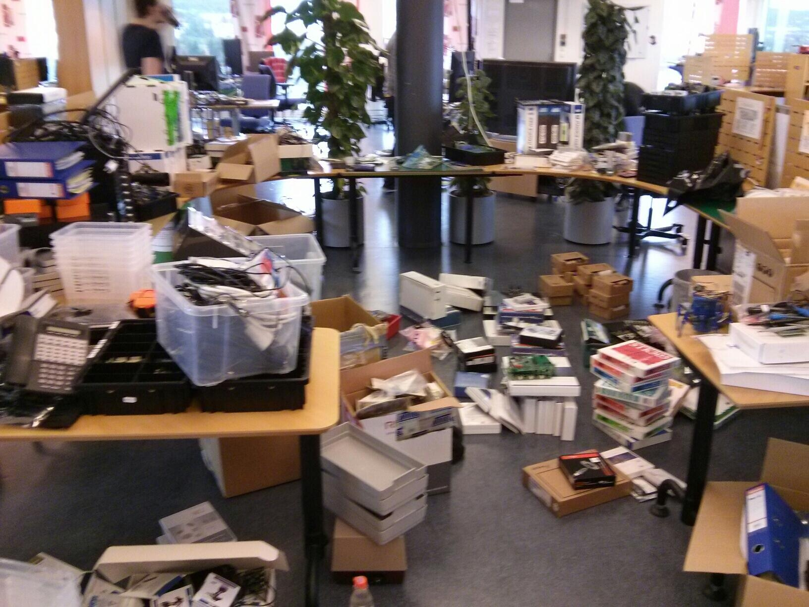 Cleaning out the Atmel office.