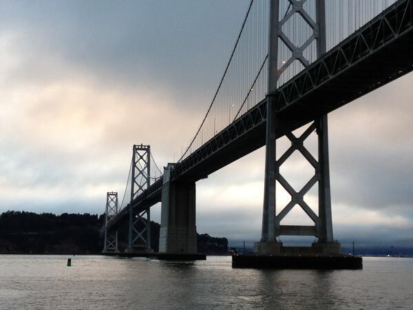 Eerie sight: #BayBridge from the Alameda Ferry: no traffic noise, and one Muni bus w/commuters from #TreasureIsland. http://twitter.com/CyrusKQED/status/373102936315813889/photo/1