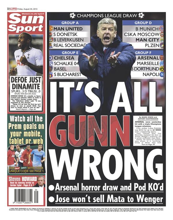Fridays back pages batter Arsenal: Wengers nightmare & its all Gunn wrong