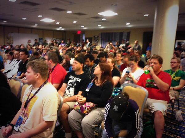 WOW! Fans are anxious to hear about #StarWars #EpisodeVII! Standing room only! Gonna need a bigger room! #DragonCon http://twitter.com/SWatDC/status/373513661505343489/photo/1