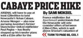 Arsenal will have to splash out over £20m to land Newcastle midfielder Yohan Cabaye [Mail]