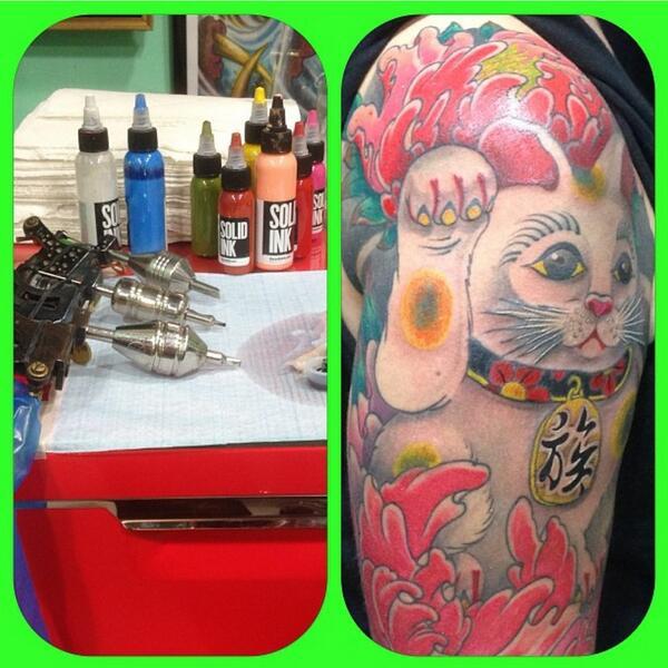 #LuckyCat shared by #HernanCoretta #CorettaTattooStudio & #LKSTattoo using #TheSolidInk #TattooInk in #BuenosAires http://t.co/tCw1eEWZqV