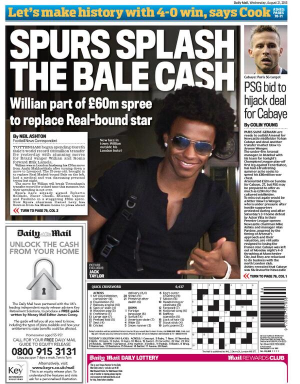 Wednesdays Spurs back pages: Willian imminent, Lamela & Coentrao likely as Bale departs