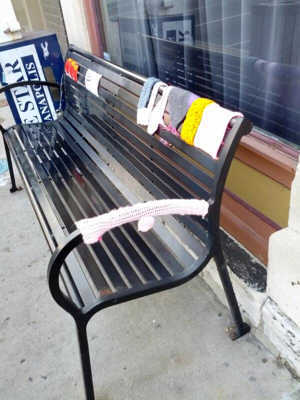 Our yarnbomb outside ComedySportz.See shar.es/zfN3Y @matalanomartin's Trailer Park American Thurs! #fringe13 http://twitter.com/Stockannette/status/370188690414268417/photo/1