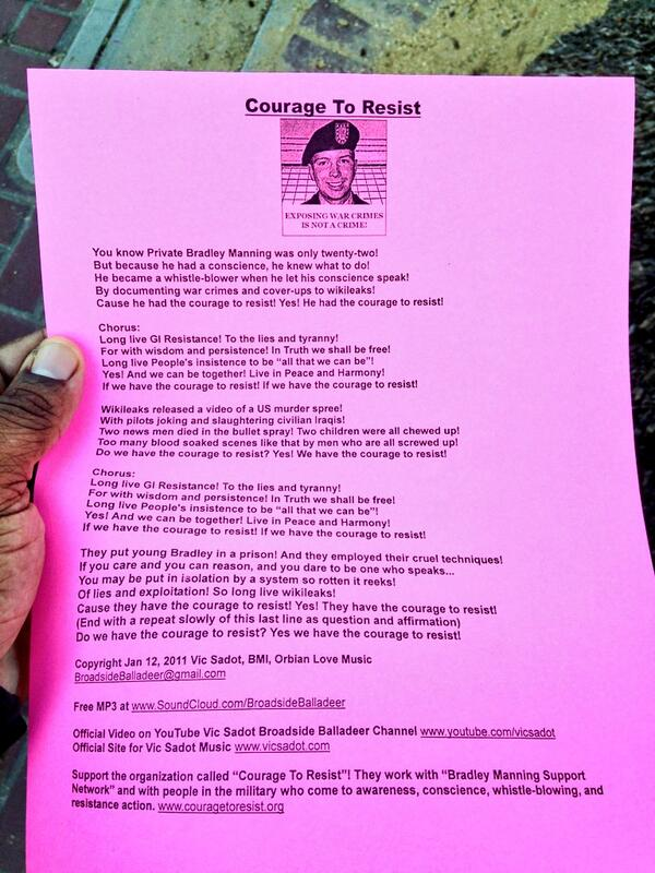 "Lyrics to the ""broadside balladeer""'s ""Courage to Resist"" praising #BradleyManning at foot of Market Street http://twitter.com/allaboutgeorge/status/370338559758069761/photo/1"