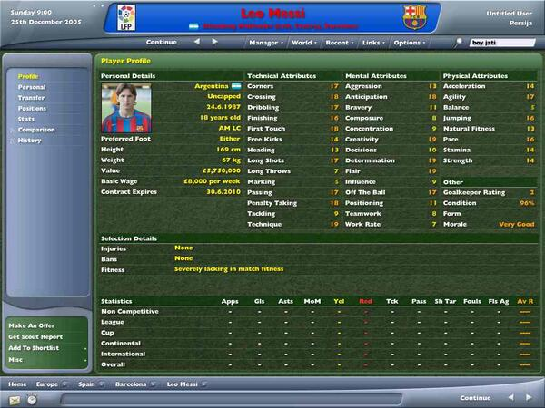Which Fm Did Messi 1st Appeared In Football Manager
