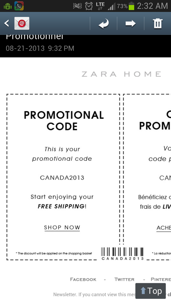 Fiona N On Twitter Zara Home Promo Code For Free Shipping In Canada Vanessadoh2o Http T Co Rxk5bwmyxe