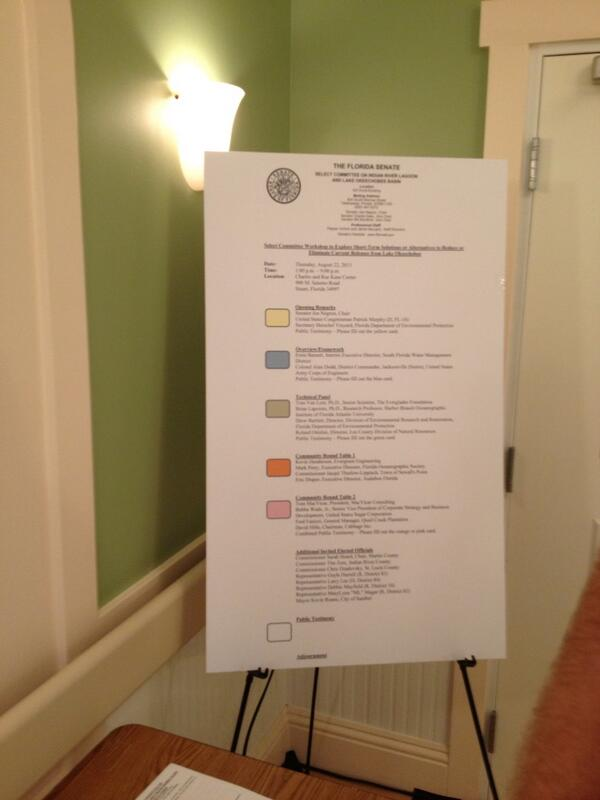 Today's schedule for #indianriverlagoon Senate hearing. Sorry it's small. http://twitter.com/TCPalmEPfahler/status/370559466145468416/photo/1