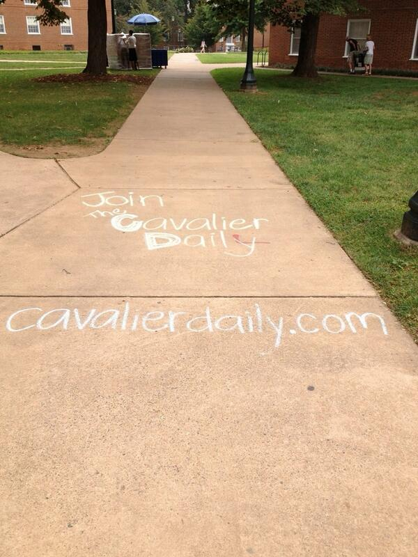 Really glad we spent all morning chalking for @cavalierdaily before it started pouring rain #UVAmovein http://twitter.com/kazkomolafe/status/370906579123453953/photo/1