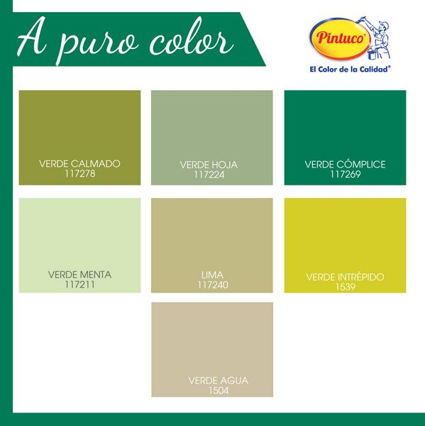 Verdes pintuco imagui for Gama de colores verdes