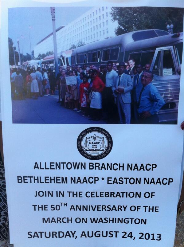 Found the LV NAACP! All carrying this sign w/ picture of their group leaving for the #marchonwashington in 1963. http://twitter.com/DCMorningCall/status/371238706692489216/photo/1