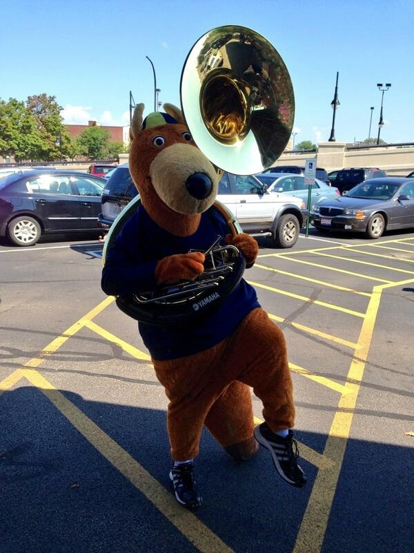 Zippy loves the band! #zippypics #zipsband #NewRooWeekend #GoZips http://twitter.com/uakronmusic/status/371288478299848704/photo/1