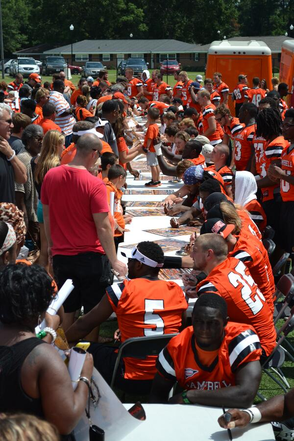 Here's one from today's CU Football Fan Fest at Barker-Lane Stadium #goCamels http://twitter.com/GoCamelsFB/status/371365269488156672/photo/1