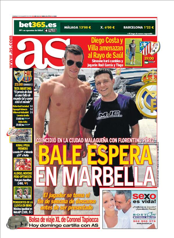 Both Marca & AS post old photos of Gareth Bale in Marbella on their front covers
